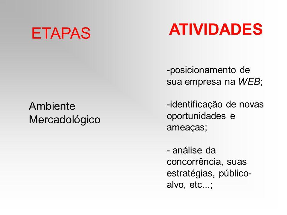 ETAPAS ATIVIDADES Ambiente Mercadológico -posicionamento de sua empresa na WEB; -identificação de novas oportunidades e ameaças; - análise da concorrê