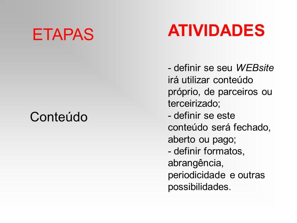 ETAPAS ATIVIDADES Conteúdo - definir se seu WEBsite irá utilizar conteúdo próprio, de parceiros ou terceirizado; - definir se este conteúdo será fecha