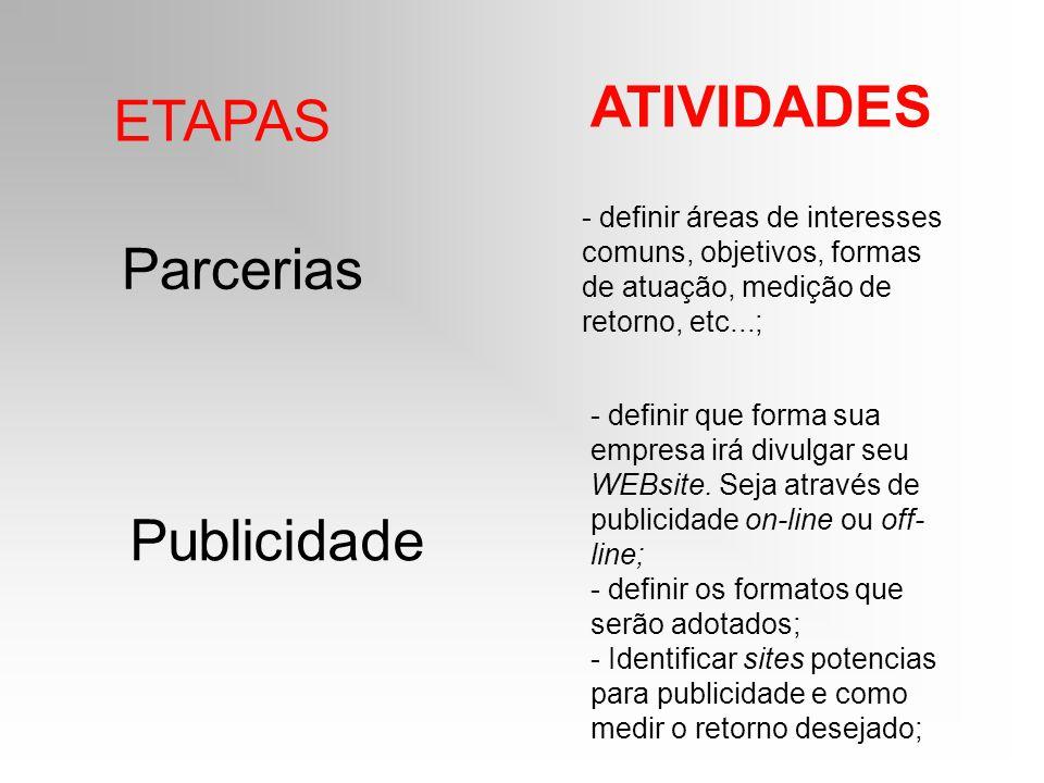 ETAPAS ATIVIDADES Parcerias - definir áreas de interesses comuns, objetivos, formas de atuação, medição de retorno, etc...; Publicidade - definir que