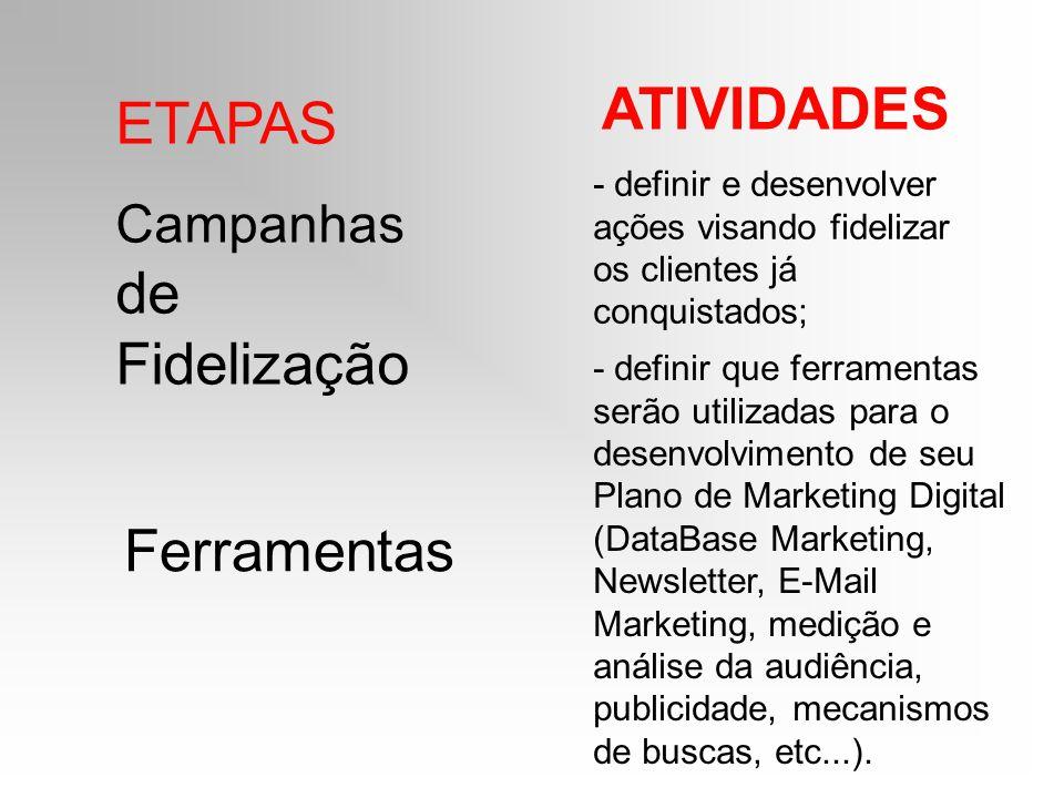 ETAPAS ATIVIDADES Campanhas de Fidelização - definir e desenvolver ações visando fidelizar os clientes já conquistados; Ferramentas - definir que ferr