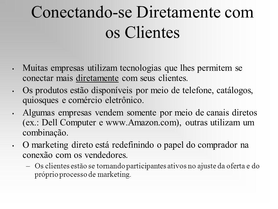 Conectando-se Diretamente com os Clientes Muitas empresas utilizam tecnologias que lhes permitem se conectar mais diretamente com seus clientes. Os pr