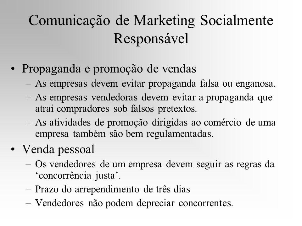 Comunicação de Marketing Socialmente Responsável Propaganda e promoção de vendas –As empresas devem evitar propaganda falsa ou enganosa. –As empresas