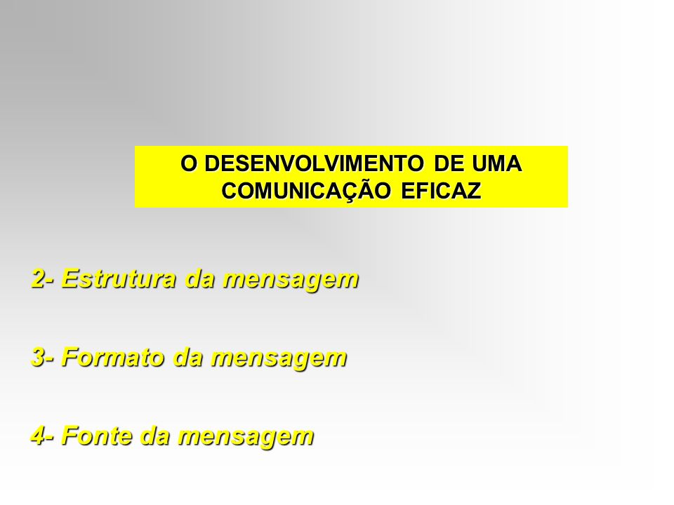 O DESENVOLVIMENTO DE UMA COMUNICAÇÃO EFICAZ 2- Estrutura da mensagem 3- Formato da mensagem 4- Fonte da mensagem