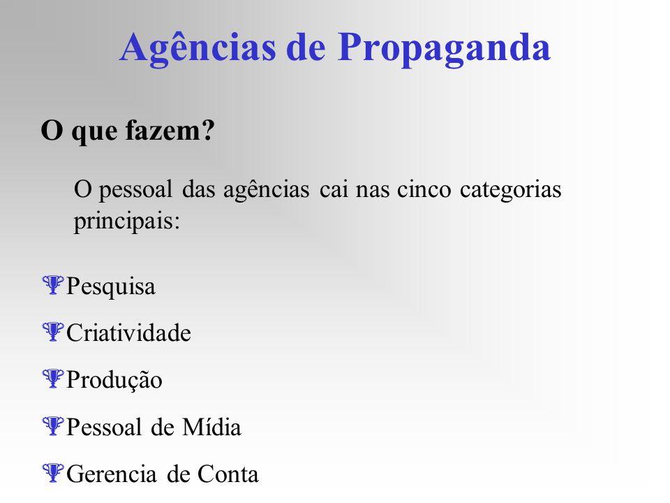 Agências de Propaganda O que fazem? O pessoal das agências cai nas cinco categorias principais: Pesquisa Criatividade Produção Pessoal de Mídia Gerenc