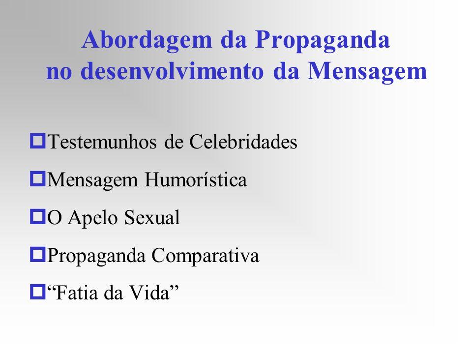 Abordagem da Propaganda no desenvolvimento da Mensagem pTestemunhos de Celebridades pMensagem Humorística pO Apelo Sexual pPropaganda Comparativa pFat