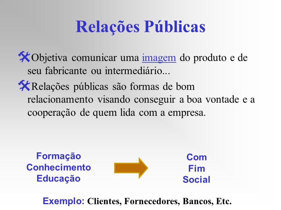 Relações Públicas Objetiva comunicar uma imagem do produto e de seu fabricante ou intermediário... Relações públicas são formas de bom relacionamento