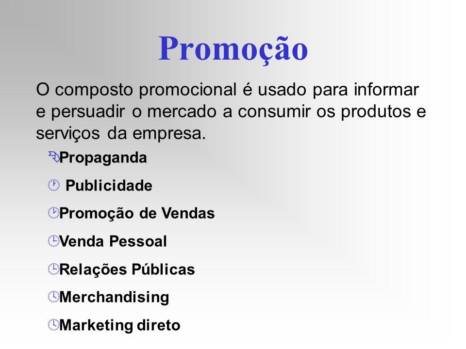 Promoção O composto promocional é usado para informar e persuadir o mercado a consumir os produtos e serviços da empresa. Ê Propaganda · Publicidade ¸