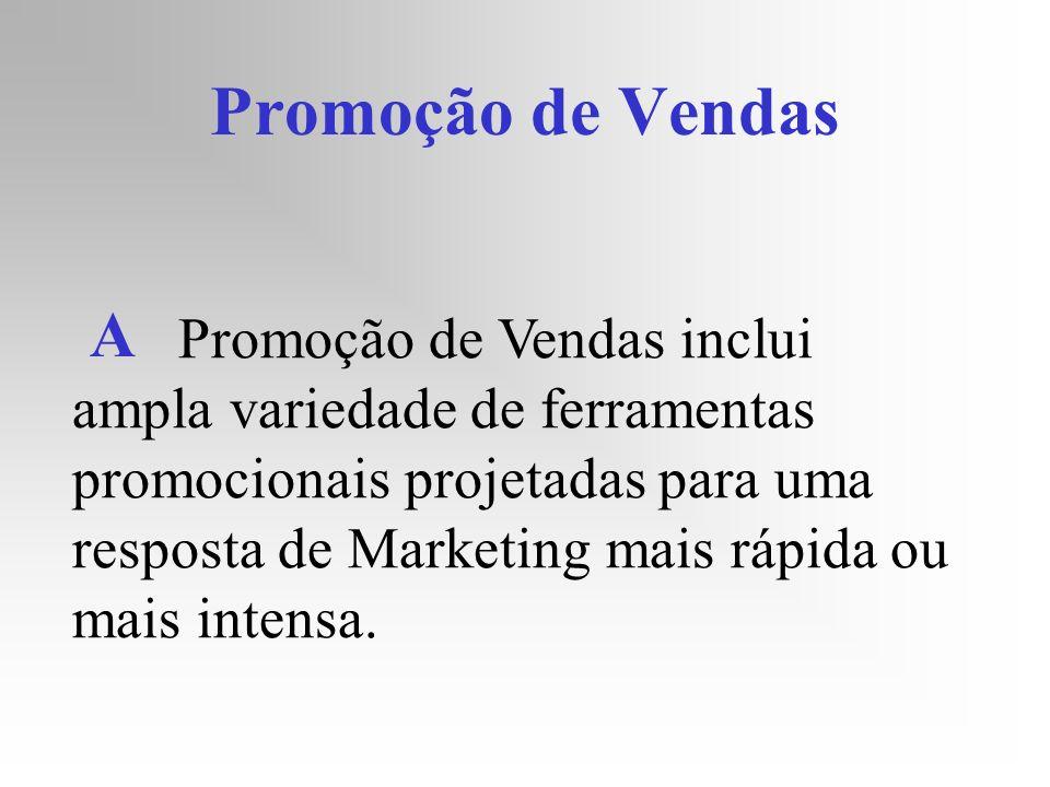 Promoção de Vendas Promoção de Vendas inclui ampla variedade de ferramentas promocionais projetadas para uma resposta de Marketing mais rápida ou mais