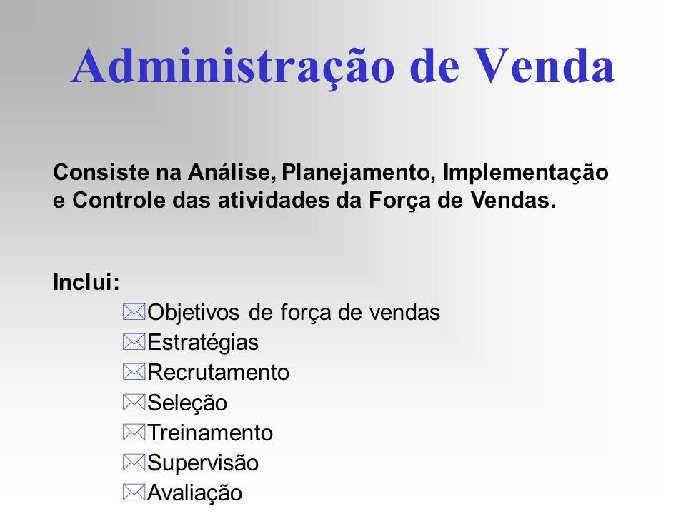 Administração de Venda Consiste na Análise, Planejamento, Implementação e Controle das atividades da Força de Vendas. Inclui: *Objetivos de força de v