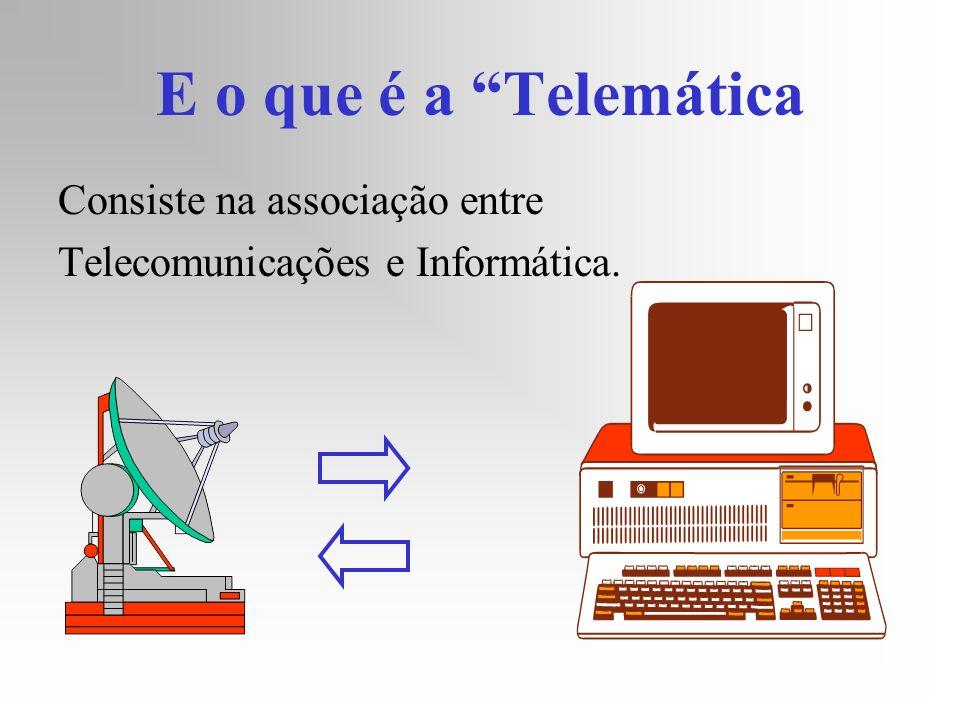 E o que é a Telemática Consiste na associação entre Telecomunicações e Informática.