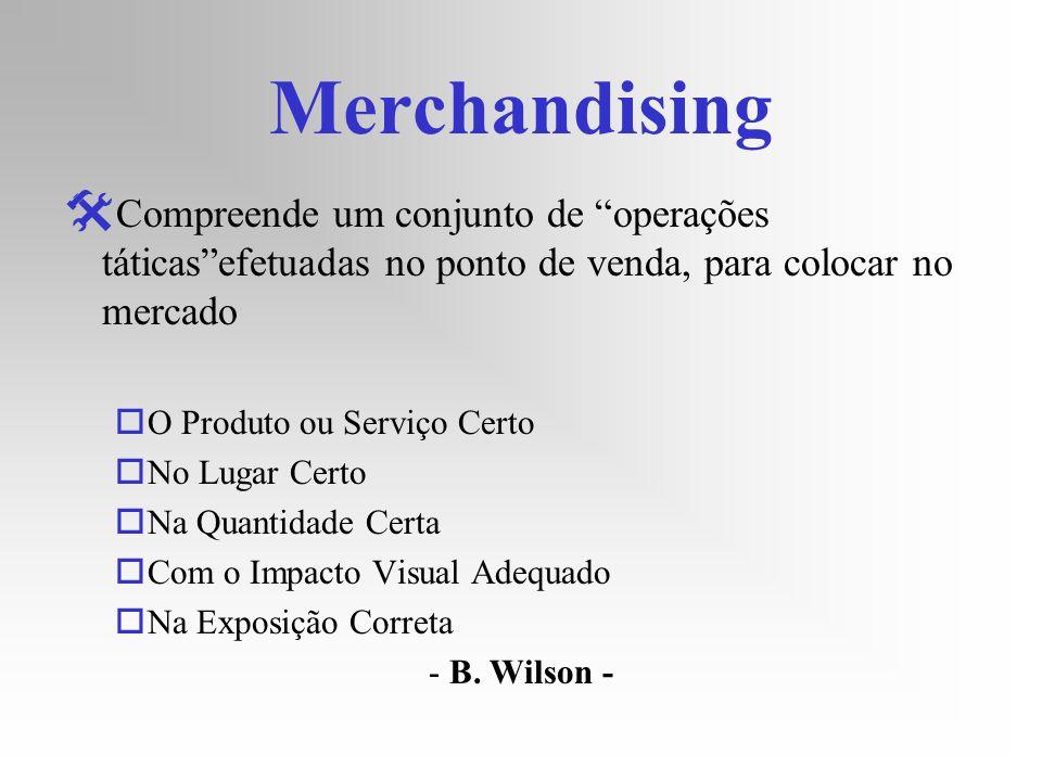 Merchandising Compreende um conjunto de operações táticasefetuadas no ponto de venda, para colocar no mercado oO Produto ou Serviço Certo oNo Lugar Ce