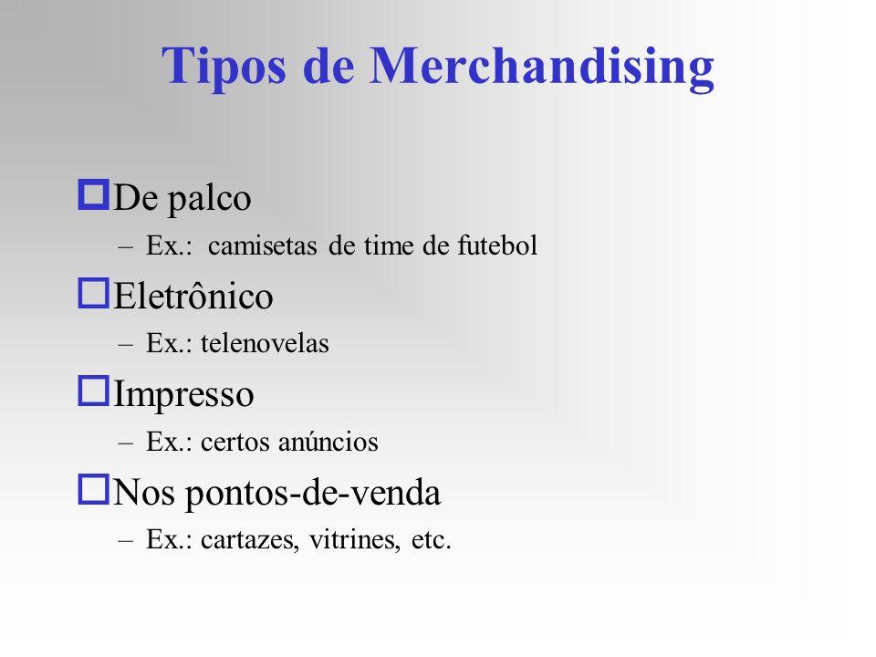 Tipos de Merchandising p De palco –Ex.: camisetas de time de futebol o Eletrônico –Ex.: telenovelas o Impresso –Ex.: certos anúncios o Nos pontos-de-v