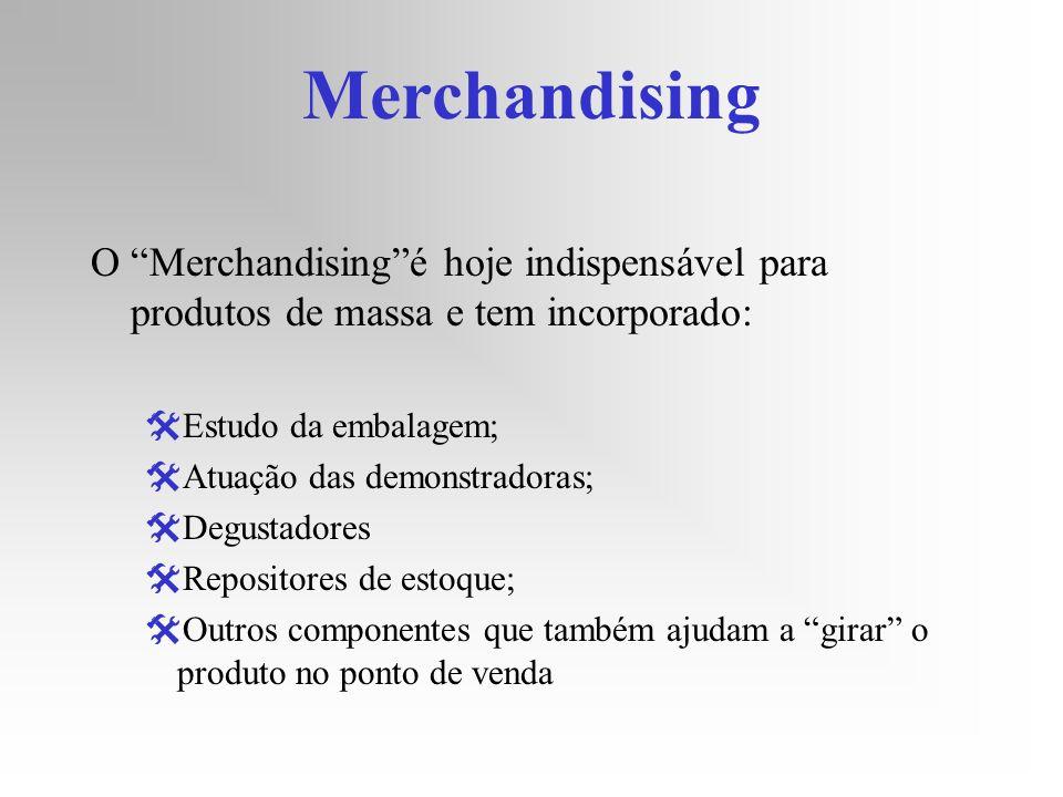 Merchandising O Merchandisingé hoje indispensável para produtos de massa e tem incorporado: Estudo da embalagem; Atuação das demonstradoras; Degustado