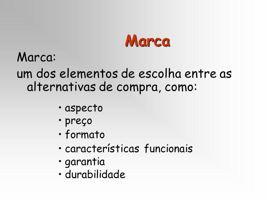 Marca Marca: um dos elementos de escolha entre as alternativas de compra, como: aspecto preço formato características funcionais garantia durabilidade