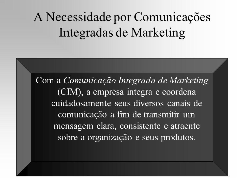 A Necessidade por Comunicações Integradas de Marketing Com a Comunicação Integrada de Marketing (CIM), a empresa integra e coordena cuidadosamente seu