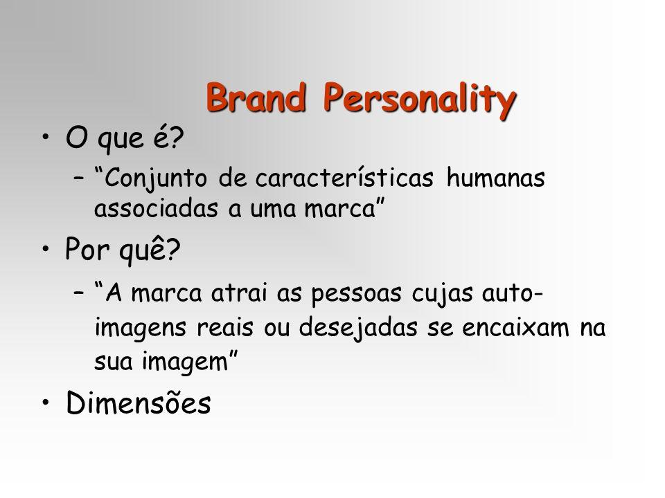 Brand Personality O que é? –Conjunto de características humanas associadas a uma marca Por quê? –A marca atrai as pessoas cujas auto- imagens reais ou