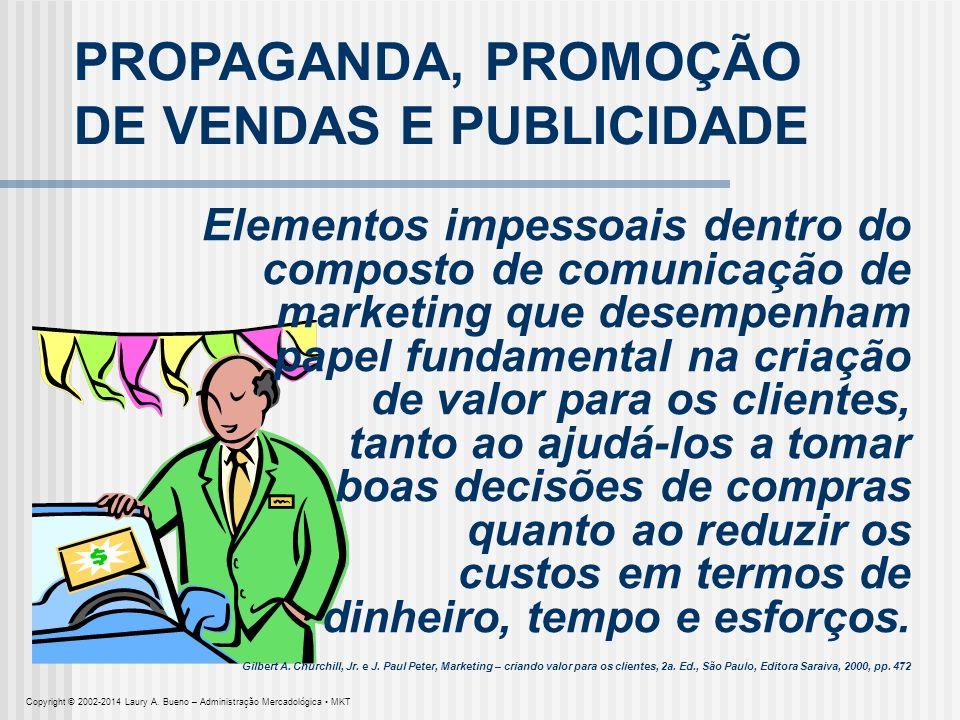 PROPAGANDA, PROMOÇÃO DE VENDAS E PUBLICIDADE Elementos impessoais dentro do composto de comunicação de marketing que desempenham papel fundamental na