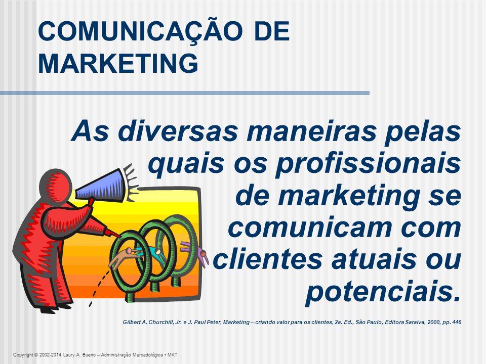 COMUNICAÇÃO DE MARKETING As diversas maneiras pelas quais os profissionais de marketing se comunicam com clientes atuais ou potenciais. Gilbert A. Chu