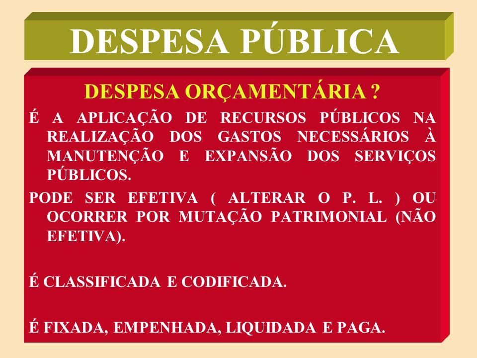 DESPESA PÚBLICA DESPESA ORÇAMENTÁRIA x DESPESA EXTRA-ORÇAMENTÁRIA
