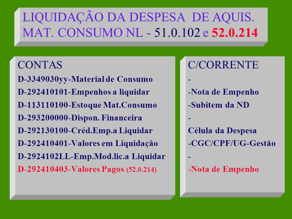 EMPENHO DA DESPESA NE - 40.1.091 (continuação) CONTA C-29213.0100-Créd.Emp.a Liquidar C-19241.9900-Outros emp.p/emissão C-29241.0101-Empenhos a Liquidar C-19241.9900-Outros Emp.p/emissão C-29241.02LL-Emp.p/mod.Lic.a Liq.