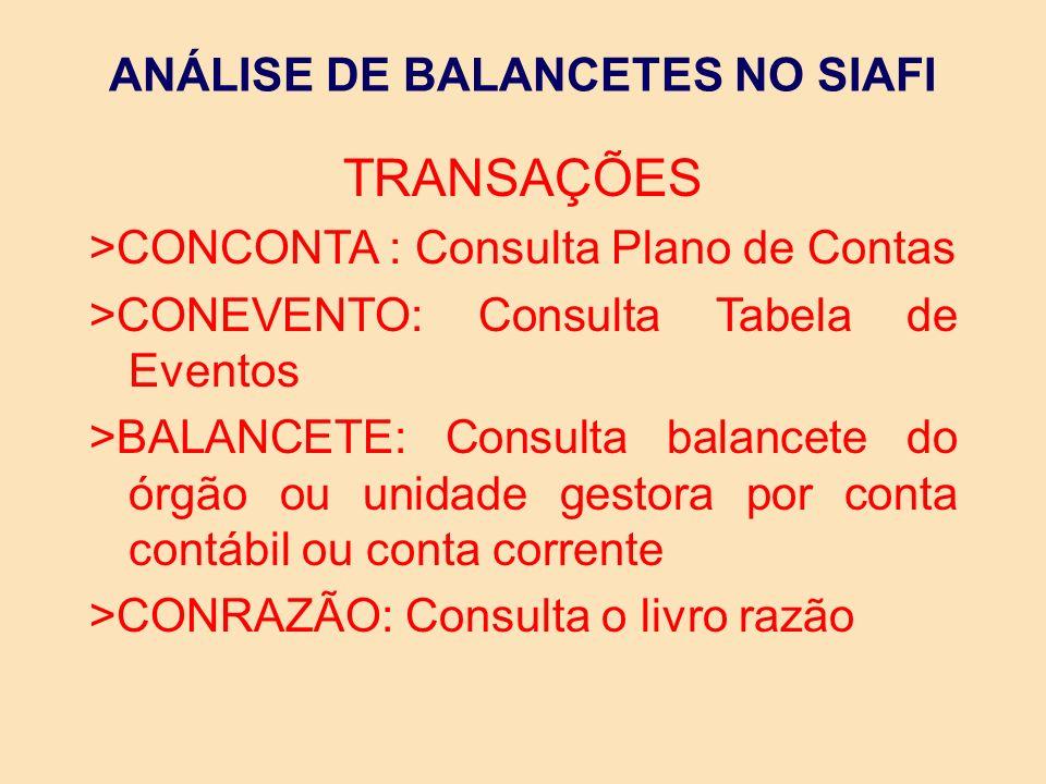 ANÁLISE DO BALANCETE Na análise do balancete mensal, cada unidade Gestora deverá verificar as contas contábeis, de forma que ao final do mês o balancete demonstre corretamente os saldos das contas contábeis.
