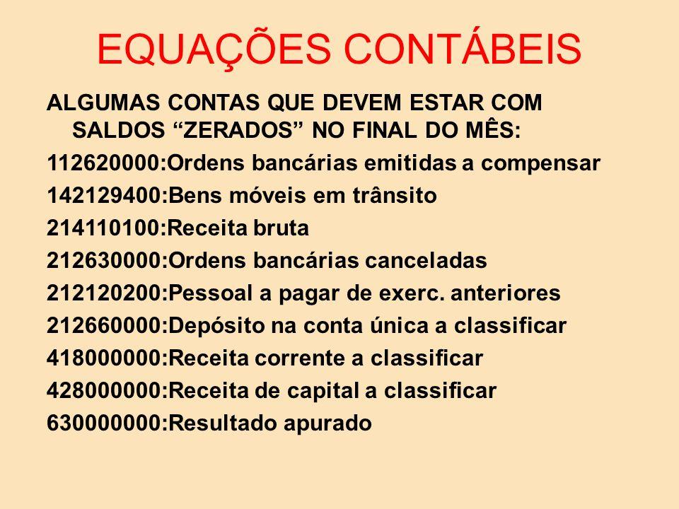 EQUAÇÕES CONTÁBEIS 7.Despesa e crédito líquido 300000000=292130201 8.