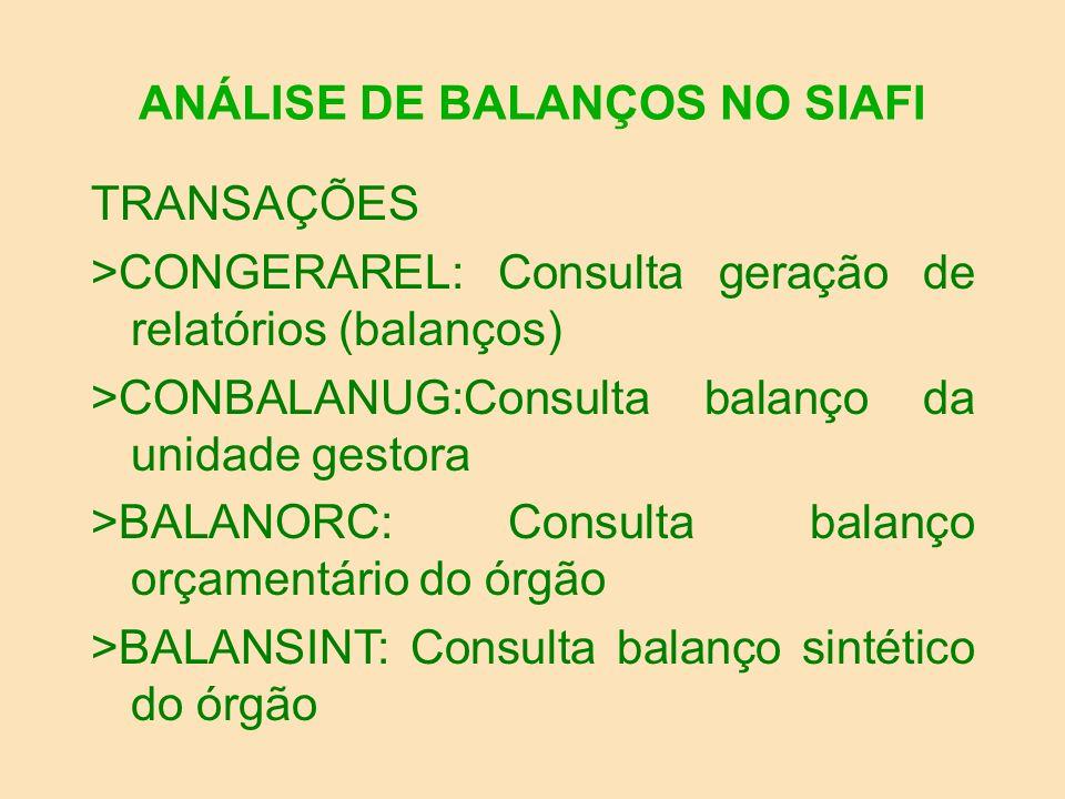 ANÁLISE DE BALANÇOS NO SIAFI DEMONSTRAÇÕES EXAMINADAS: 1-FINANCEIRO 2-PATRIMONIAL 3-VARIAÇÕES PATRIMONIAIS 4-BALANÇO ORÇAMENTÁRIO 5-DISPONIBILIDADES