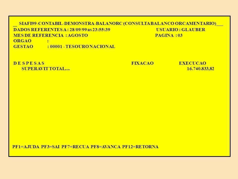 __ SIAFI99-CONTABIL-DEMONSTRA-BALANORC (CONSULTA BALANCO ORCAMENTARIO)_____ DADOS REFERENTES A : 28/09/99 as 23:55:39 USUARIO : GLAUBER MES DE REFERENCIA : AGOSTO PAGINA : 02 ORGAO : GESTAO : 00001 - TESOURO NACIONAL D E S P E S A S FIXACAO EXECUCAO CREDITO ORCAMENTARIO SUPL.