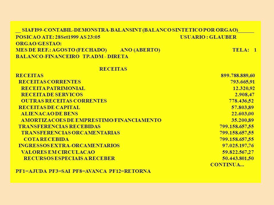 ANÁLISE DE BALANÇOS NO SIAFI Balanço Financeiro A despesa e a receita por categoria econômica deverão ter seus valores coincidentes com os do balanço orçamentário.