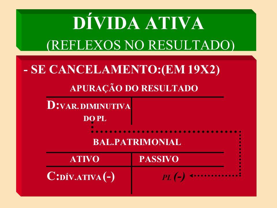 DÍVIDA ATIVA (REFLEXOS NO RESULTADO) - NA INSCRIÇÃO: (EM 19X1) APURAÇÃO DO RESULTADO C: VAR.