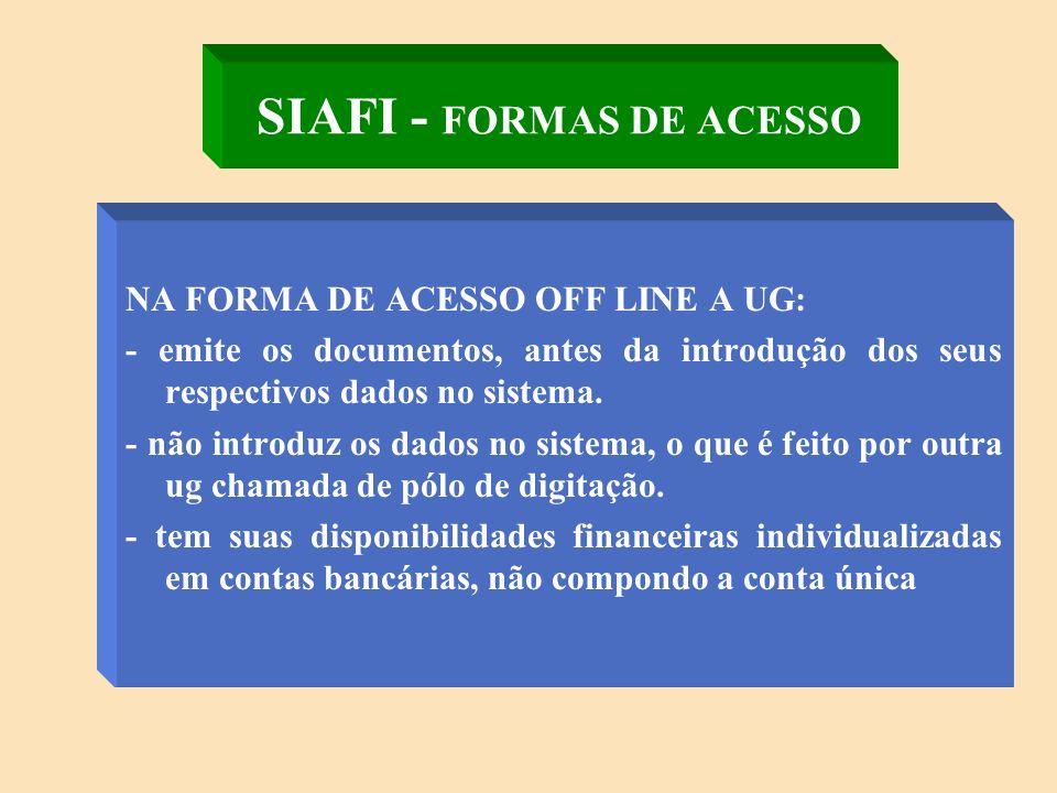SIAFI - FORMAS DE ACESSO NA FORMA DE ACESSO ON LINE A UG: - emite os seus documentos orçamentários e financeiros diretamente no sistema; - tem as suas disponibilidades financeiras individualizadas em contas contábeis, compondo o saldo da conta única.