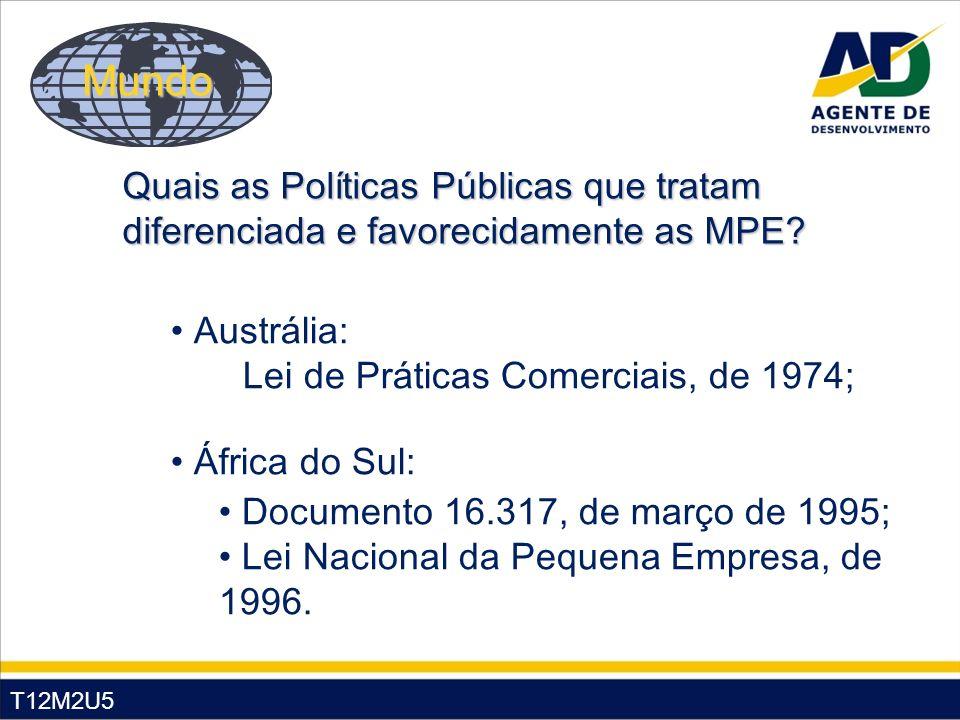 T12M2U5 Austrália: Lei de Práticas Comerciais, de 1974; África do Sul: Documento 16.317, de março de 1995; Lei Nacional da Pequena Empresa, de 1996. Q