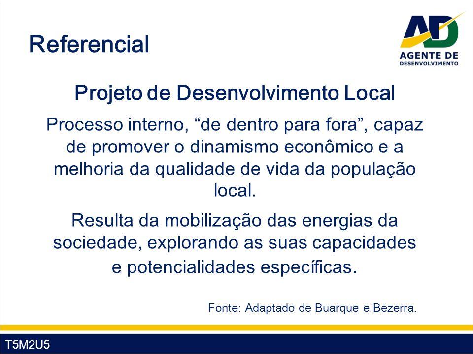 T5M2U5 Referencial Projeto de Desenvolvimento Local Processo interno, de dentro para fora, capaz de promover o dinamismo econômico e a melhoria da qualidade de vida da população local.
