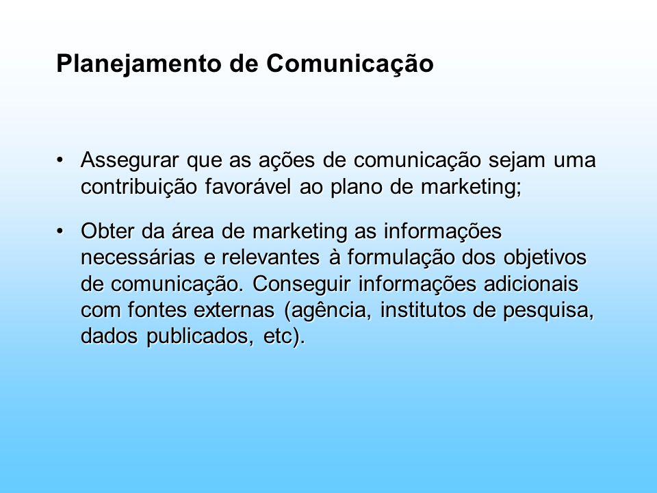 Planejamento de Comunicação Assegurar que as ações de comunicação sejam uma contribuição favorável ao plano de marketing;Assegurar que as ações de com