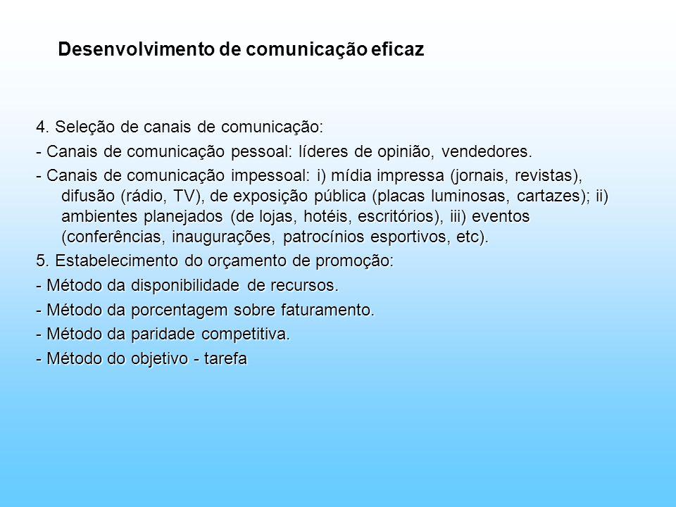 Desenvolvimento de comunicação eficaz 4. Seleção de canais de comunicação: - Canais de comunicação pessoal: líderes de opinião, vendedores. - Canais d