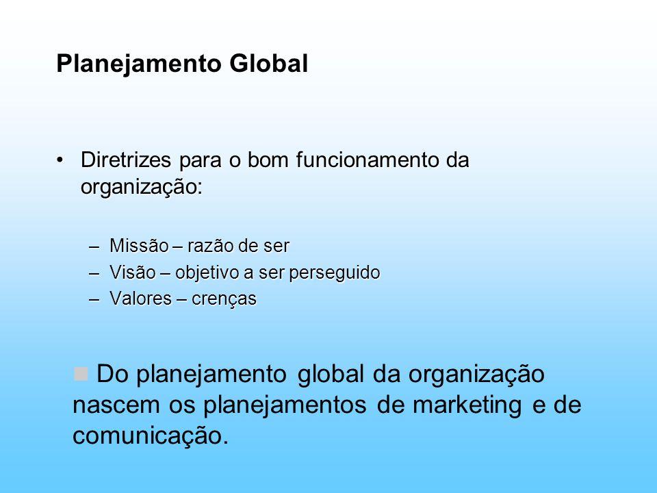 Planejamento Global Diretrizes para o bom funcionamento da organização:Diretrizes para o bom funcionamento da organização: –Missão – razão de ser –Vis