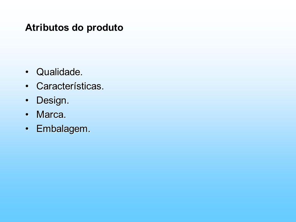 Atributos do produto Qualidade.Qualidade. Características.Características. Design.Design. Marca.Marca. Embalagem.Embalagem.