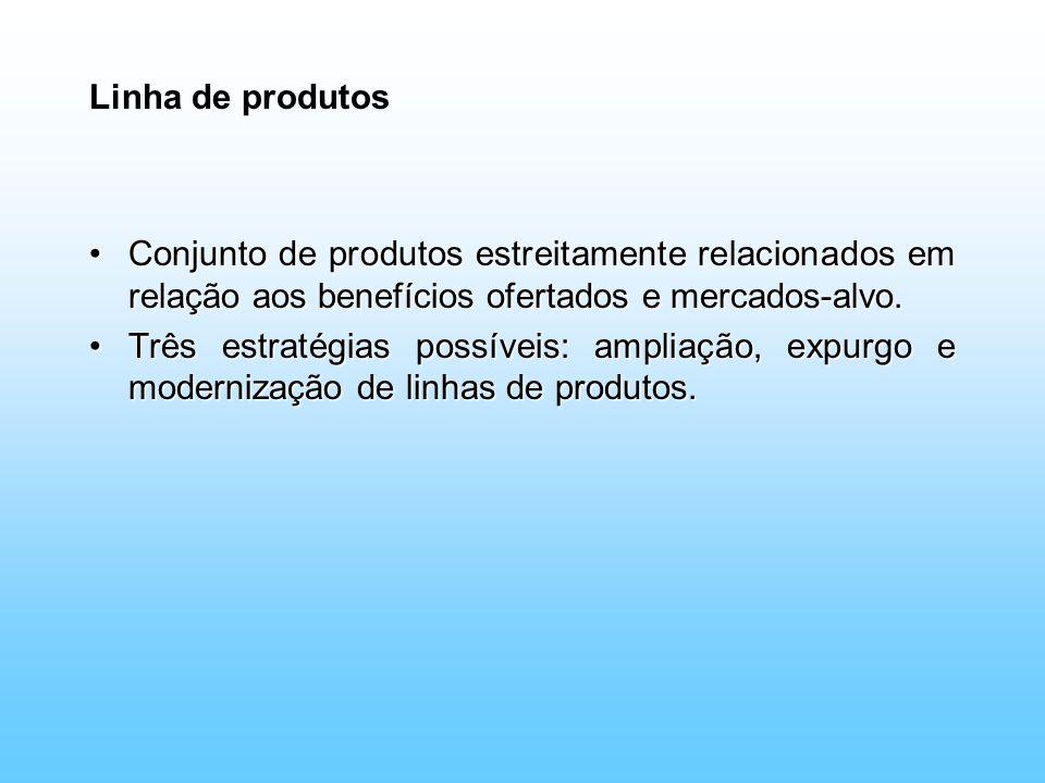 Linha de produtos Conjunto de produtos estreitamente relacionados em relação aos benefícios ofertados e mercados-alvo.Conjunto de produtos estreitamen