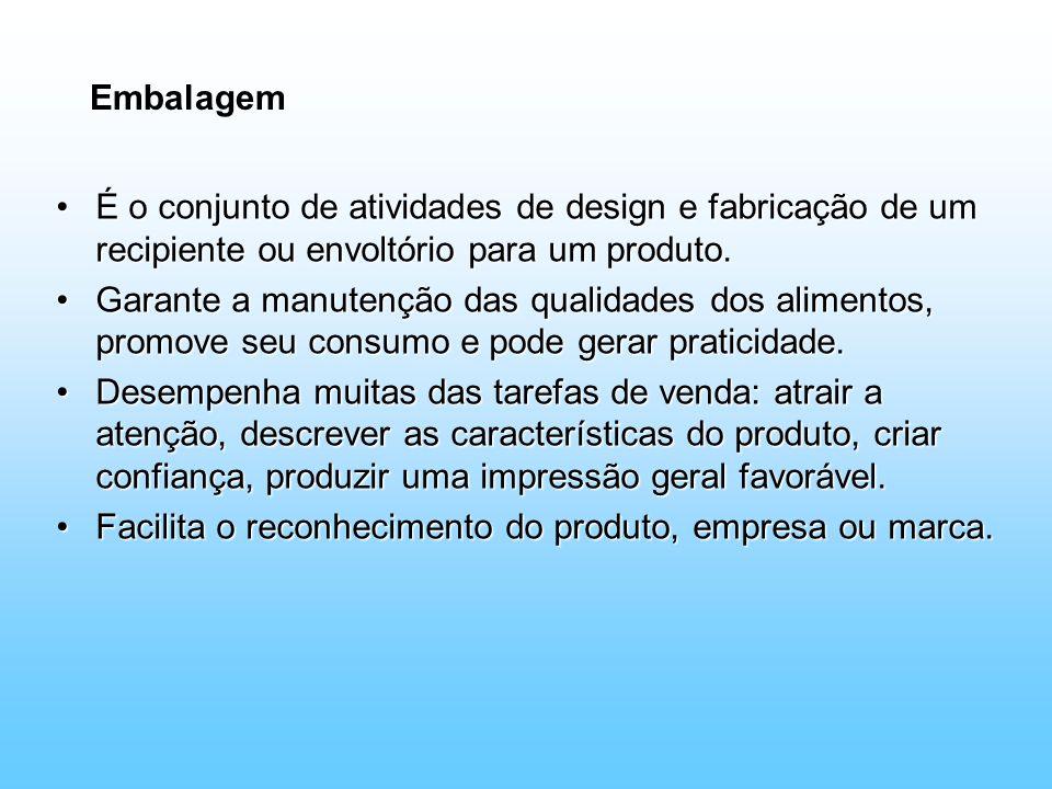 Embalagem É o conjunto de atividades de design e fabricação de um recipiente ou envoltório para um produto.É o conjunto de atividades de design e fabr