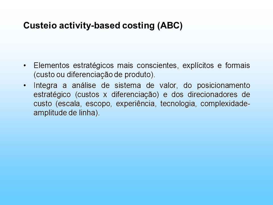 Custeio activity-based costing (ABC) Elementos estratégicos mais conscientes, explícitos e formais (custo ou diferenciação de produto).Elementos estra