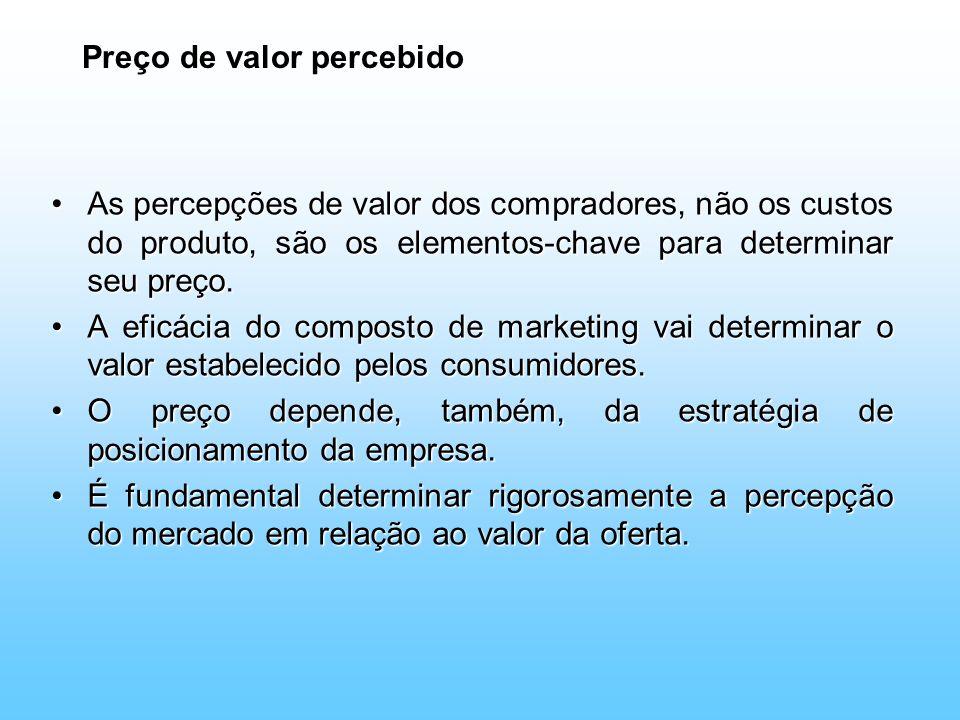 Preço de valor percebido As percepções de valor dos compradores, não os custos do produto, são os elementos-chave para determinar seu preço.As percepç