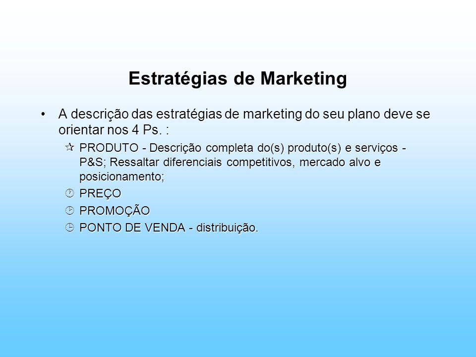 Estratégias de Marketing A descrição das estratégias de marketing do seu plano deve se orientar nos 4 Ps. :A descrição das estratégias de marketing do