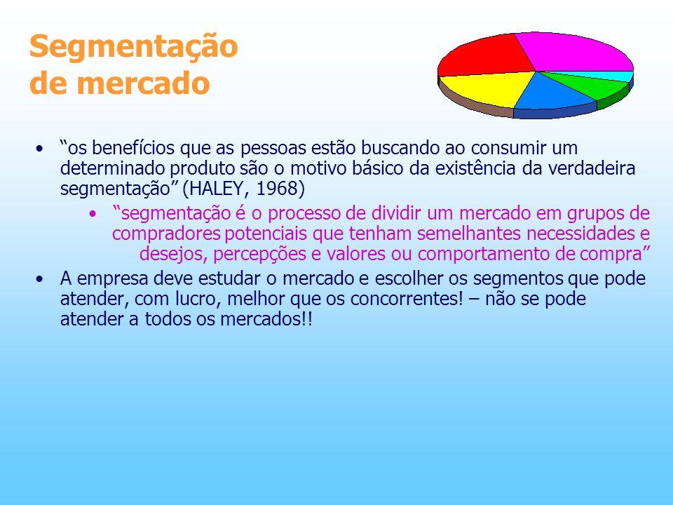 Segmentação de mercado os benefícios que as pessoas estão buscando ao consumir um determinado produto são o motivo básico da existência da verdadeira