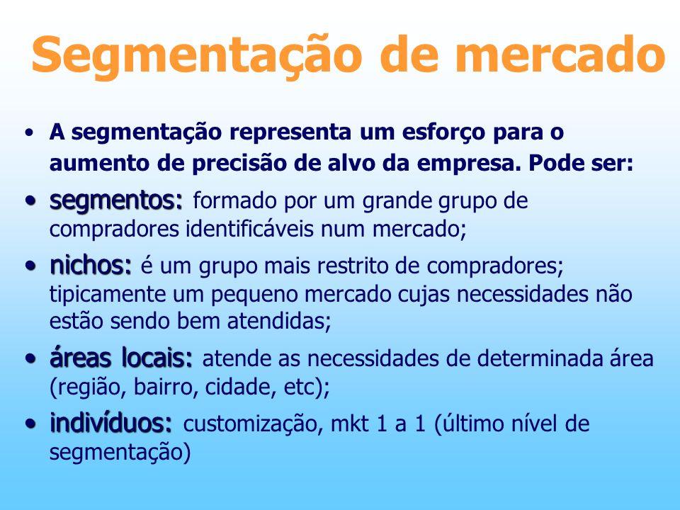 Segmentação de mercado A segmentação representa um esforço para o aumento de precisão de alvo da empresa. Pode ser: segmentos:segmentos: formado por u