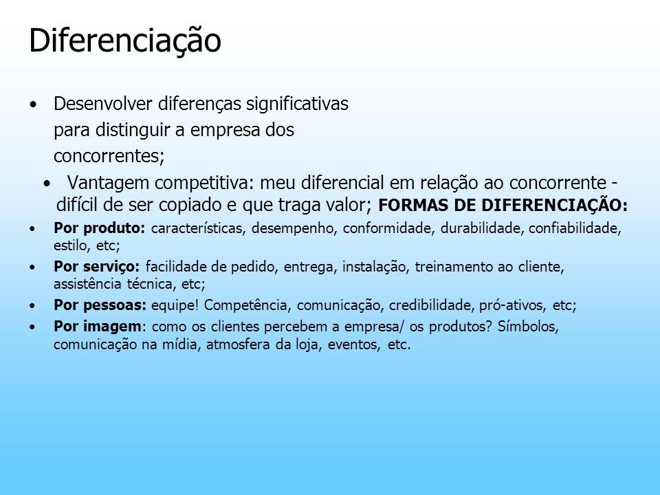 Diferenciação Desenvolver diferenças significativas para distinguir a empresa dos concorrentes; Vantagem competitiva: meu diferencial em relação ao co