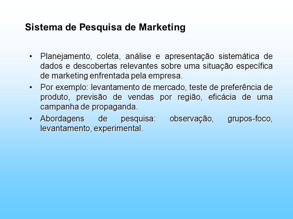 Sistema de Pesquisa de Marketing Planejamento, coleta, análise e apresentação sistemática de dados e descobertas relevantes sobre uma situação específ