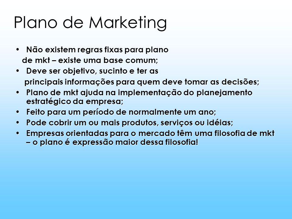 Plano de Marketing Não existem regras fixas para plano Não existem regras fixas para plano de mkt – existe uma base comum; de mkt – existe uma base co