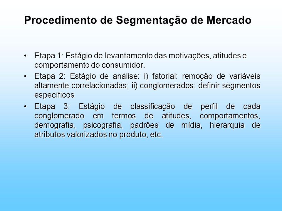 Procedimento de Segmentação de Mercado Etapa 1: Estágio de levantamento das motivações, atitudes e comportamento do consumidor.Etapa 1: Estágio de lev