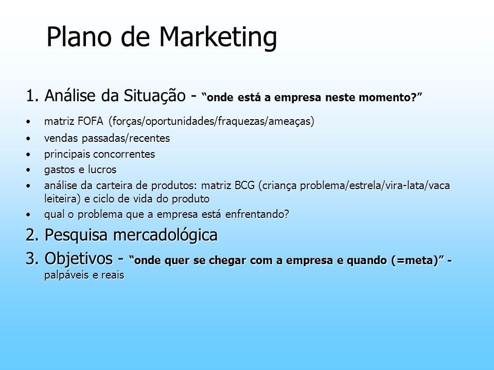 Plano de Marketing 1. Análise da Situação - onde está a empresa neste momento? matriz FOFA (forças/oportunidades/fraquezas/ameaças)matriz FOFA (forças