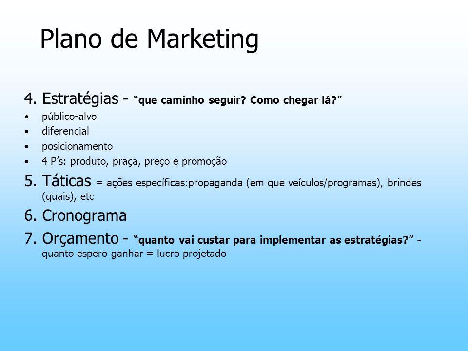 Plano de Marketing 4. Estratégias - que caminho seguir? Como chegar lá? público-alvo diferencial posicionamento 4 Ps: produto, praça, preço e promoção